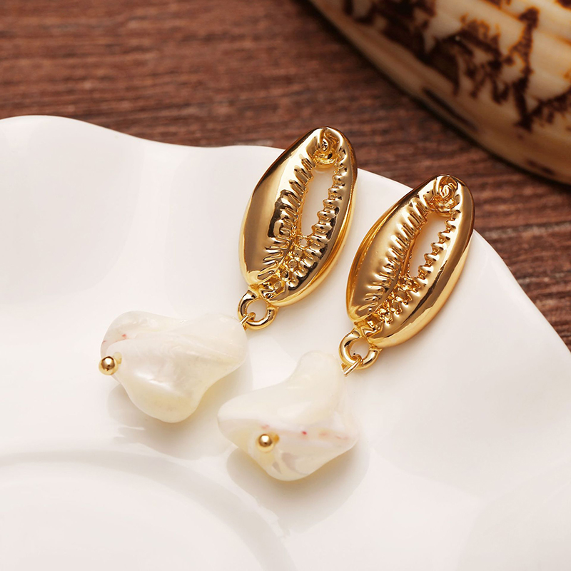 CHENFAN new ear jewelry creative metal shell Pearl pendant korean earrings womens in