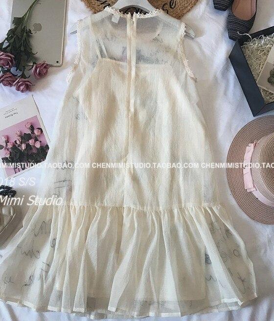 Paillettes Organza Nouvelle Fleurs D'été Lâche De Femmes rose Robe 2018 Dames Poupée Doux Brodé Beige Mode Amour Robes 86dwRqR