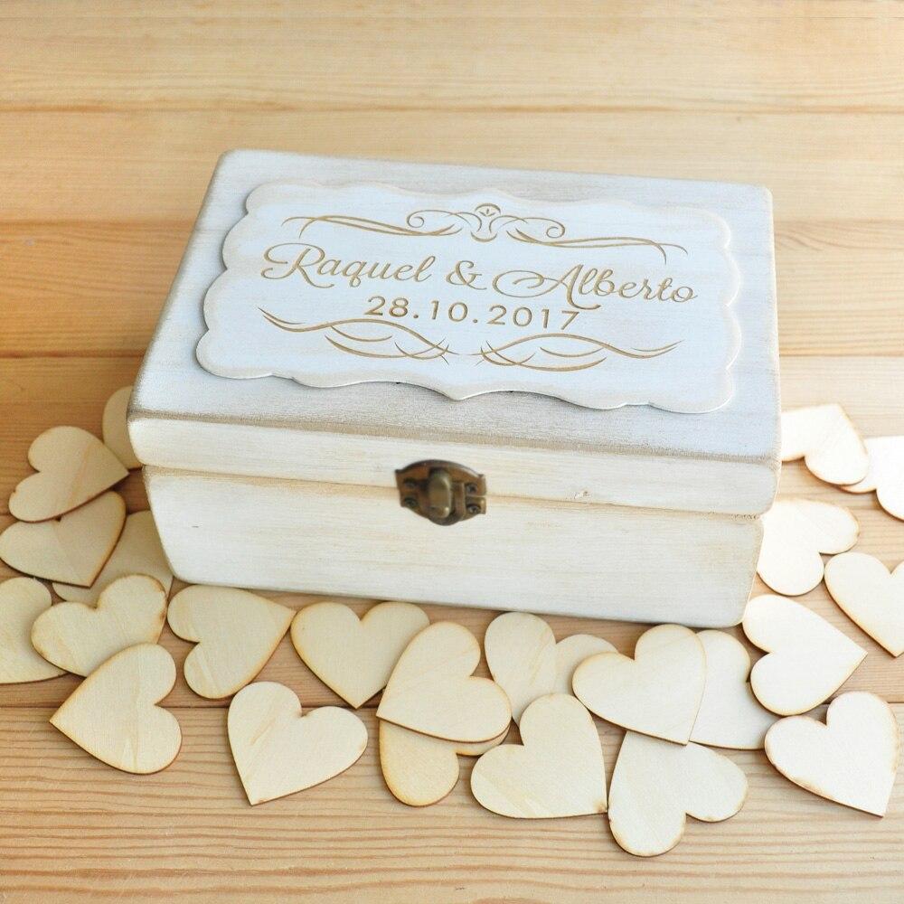 Boîte mémoire mariage boîte souvenir mariage cadeau anniversaire bois coeurs rustique mariage livre d'or