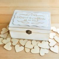 Wedding Memory Box Wedding Keepsake Box Anniversary Gift Wood Hearts Rustic Wedding Guestbook