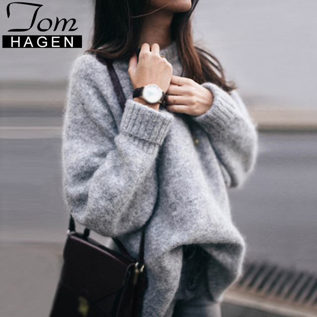 6e42c2b73cc Autumn Winter Oversized Sweater Women Casual Vintage Basic Thick Warm  Pullover Female Loose Knitted Jumper Ladies