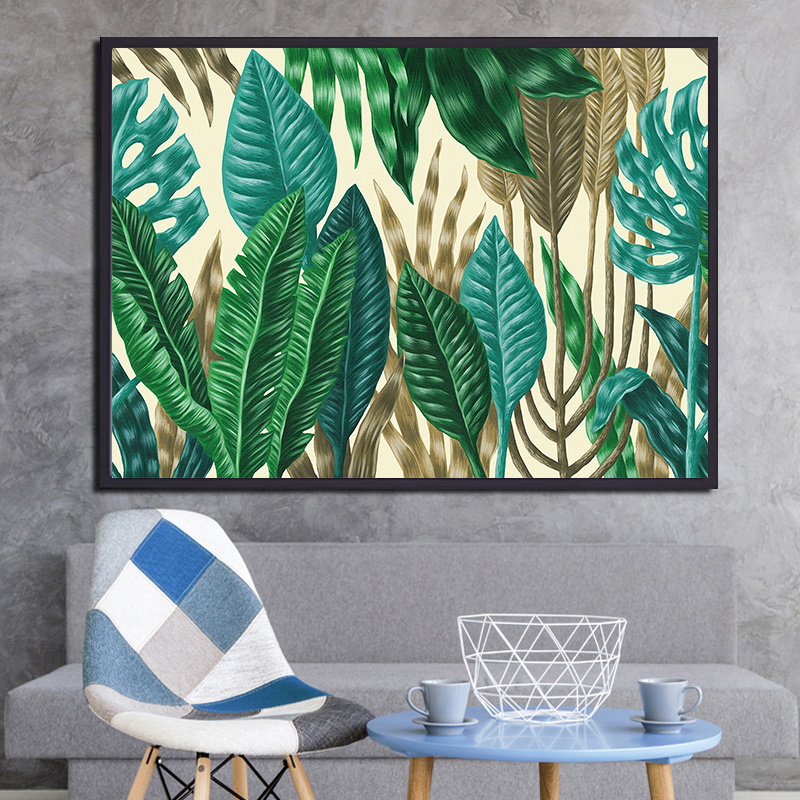 Nordic modern bedside painting fresh green plant leaf decoration painting watercolor frameless painting minimalism of the wall