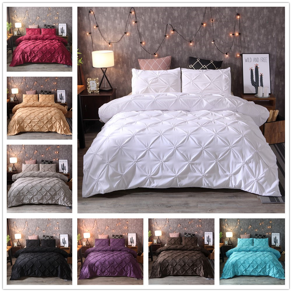 FAMIFUN Luxury Duvet Cover Set White/Black Pinch Pleat 2/3pcs Twin/Queen/King Bedding Sets (No filling,No sheet)FAMIFUN Luxury Duvet Cover Set White/Black Pinch Pleat 2/3pcs Twin/Queen/King Bedding Sets (No filling,No sheet)