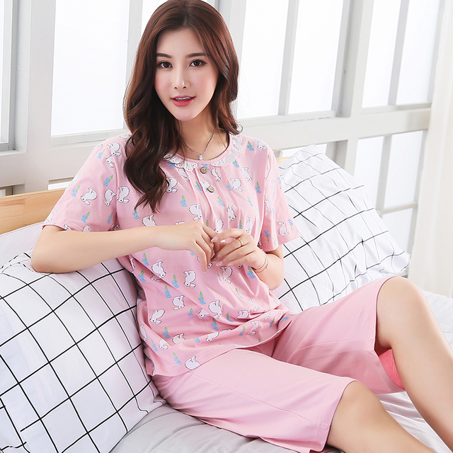 4b7ae04b7 New Summer Women's Cartoon Printing Pajamas Cotton Pajama Sets Female  Sleepwear Mujer Pyjamas Plus Size 3XL