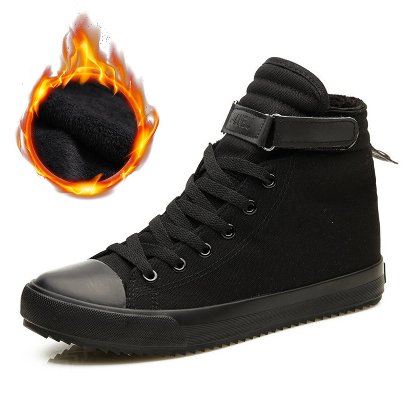 2019 Winter Shoes Men Winter Boots High Top Sneakers Warm Fur Shoes Canvas Casual Men Ankle Boots Black White Footwear KA1628