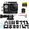 Full 1080P HD DVR SJ4000 Action Camera Wifi Sport Video Helmet Cam 12MP Waterproof DV Two battery+monopod for gopro hero 3 style