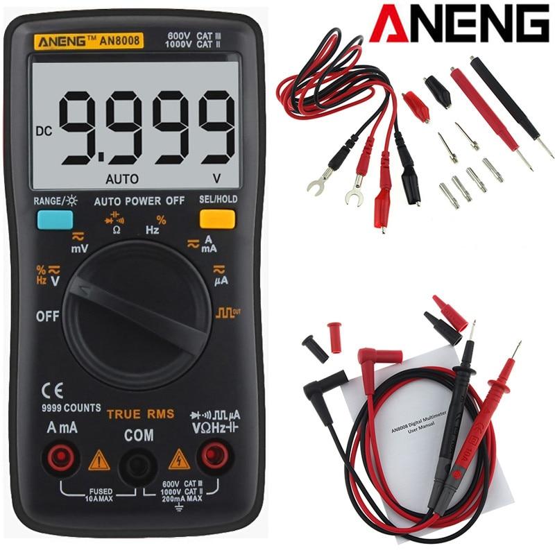 купить ANENG AN8008 Auto Range Digital Multimeter 9999 Counts Backlight AC/DC Ammeter Voltmeter Ohm Transistor Tester Multi Meter по цене 1575.49 рублей