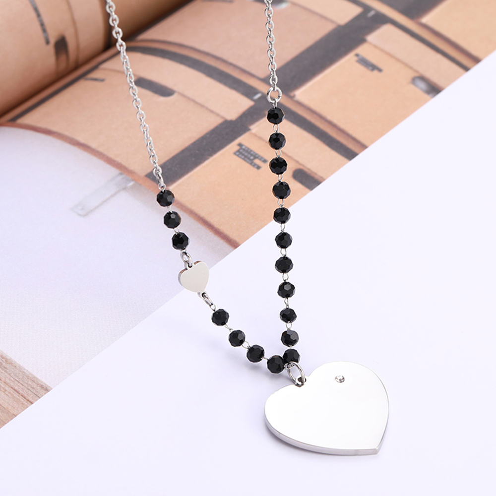 Stainless Steel Big Heart Pendant Necklace For Women Black Crystal Long Sweater Necklace Party Wedding Fashion Jewelry Gifts