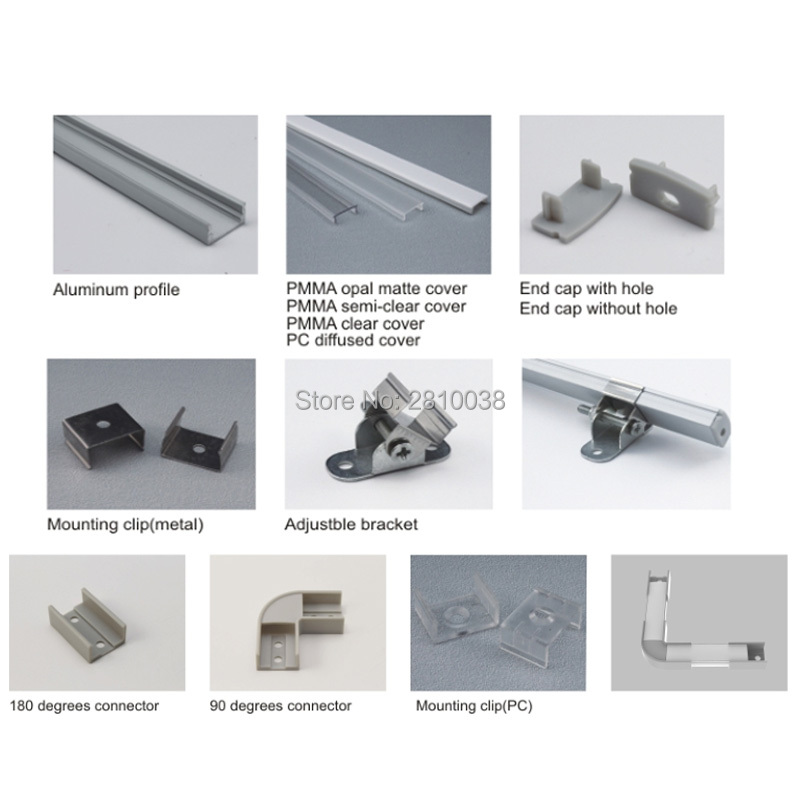 100 X 1M dəstləri / Lot Yaxşı keyfiyyətli alüminium profil - LED işıqlandırma - Fotoqrafiya 2