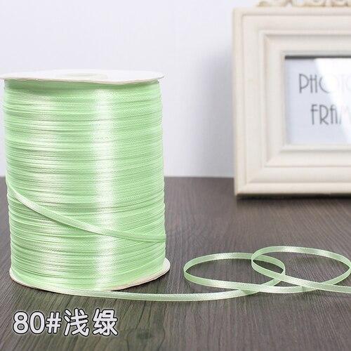 3 мм ширина бордовые атласные ленты 22 метра швейная ткань подарочная упаковка «сделай сам» ленты для свадебного украшения - Цвет: Light Green