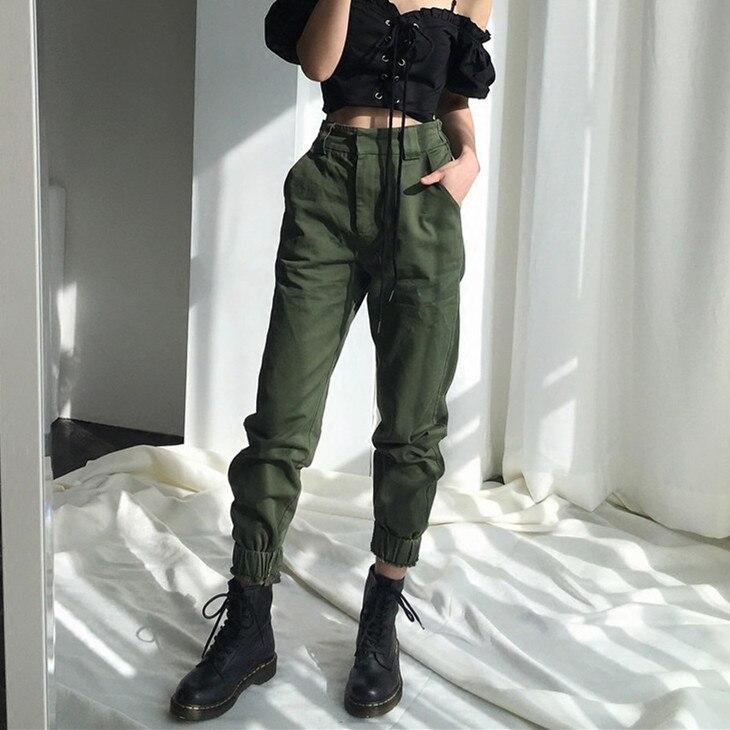 High waist   pants   camouflage loose army harem camo   pants   streetwear punk black cargo   pants   women   capris   trousers