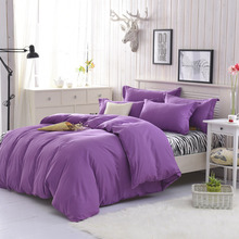Linen quilt bedding set cotton a family of four solid color Bedclothes set 1.0m-2.2m bed