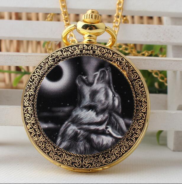 New Fashion Quartz Wolf Golden Enamel Modern Hours Men And Woman Pendant Gift Pocket Watches GHJ54