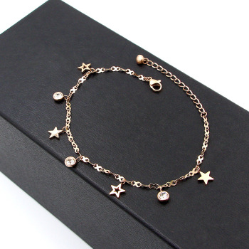 Hot Cute 8 Shape Chain Four Stars Three Crystal Woman Anklets High Quality Titanium Steel Rose Gold Color Woman Like Anklet Gift