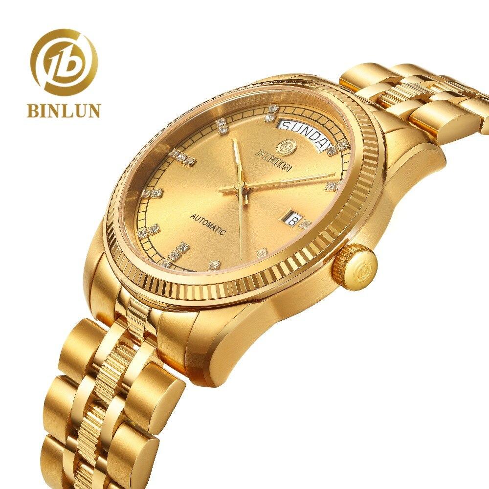 BINLUN Top Brand Mens 18K Gold Luxury Automatic Mechanical Watch Waterproof Scratchproof Dial  Watches For Men