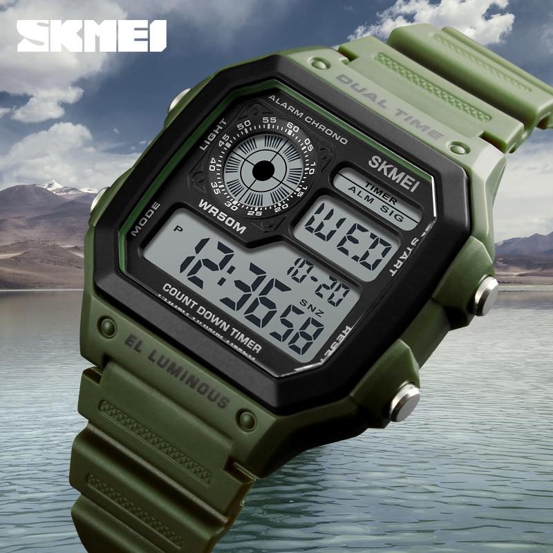 Mode hommes Montre de sport carré double temps LED montres numériques hommes horloges Relojes Deportivos Herren Uhren Reloj Hombre Montre
