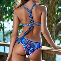 Printed Bikini Set Swimsuits Halter Biquini Bandage Swimwear Women High Neck Bikinis Beachwear Swimming Bather Two