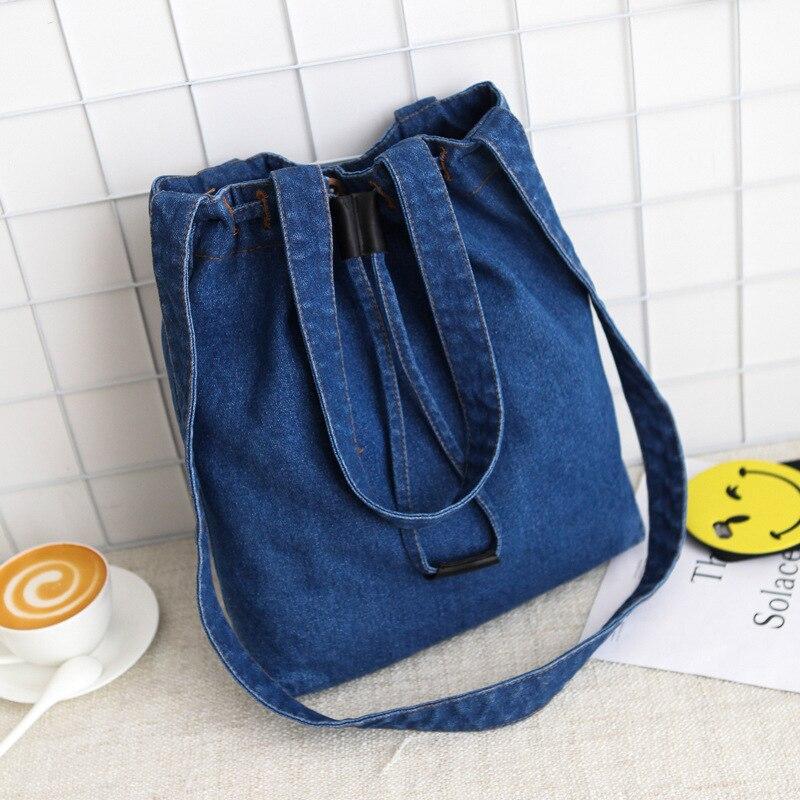 Casual Fashion Hasp Design Black Blue Bucket Denim Vintage Women Tote Crossbody Bags Lady Handbags Jeans