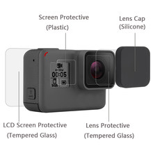 for GoPro Hero 5/6/7 Black Lens film LCD Screen Protector Protection Film tempered glass Lens Cap/Cover Go Pro Cam Accessories(China)