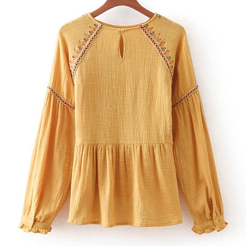Vintage Yose Bordado Yellow Tops Manga Blusa Floral Khale 2019 Boho Mujer De Amarillo Larga Paginas Camisa Lino Hippie SYwxqf1