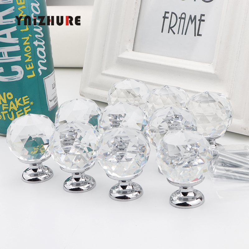 30mm 10Pcs Crystal Ball+Zinc Alloy Furniture cupboard wardrobe Cabinet Drawer Dresser Door Pulls Knobs Handles with screw