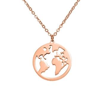 7c4b3dbf8d30 Mundo mapa collar de acero inoxidable para las mujeres Simple ajustable de  plata de oro rosa de oro de la joyería Vintage regalos del Día de la tierra