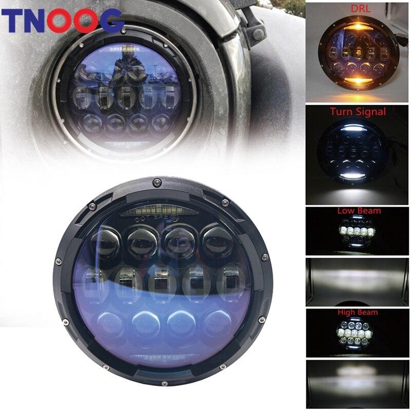 TNOOG 2pcs 130W 7inch Round LED Headlight with White/ amber Turn Signal DRL for Jeep Wrangler Lada 4x4 urban Niva UAZ Hunter