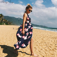 Dress with open back seaside beach backless Boho chic mexican hippie ethnic style dress clothing bohemian dress Q392