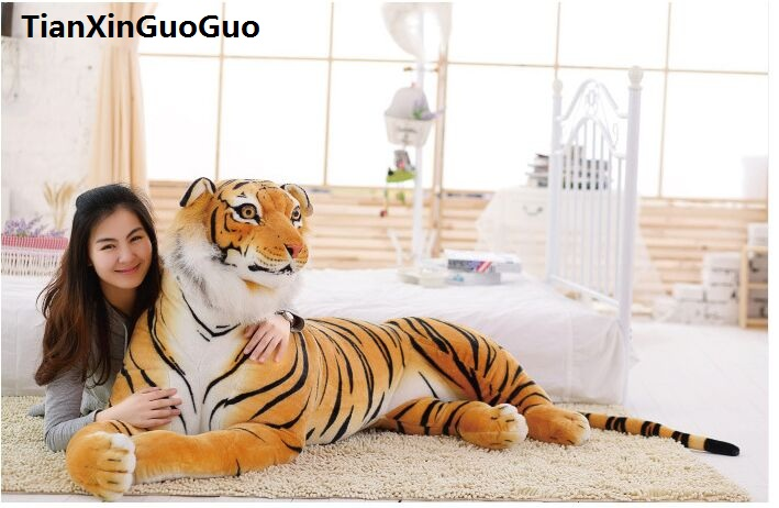 Stuffed Toy Huge 170cm Cartoon Prone Tiger Plush Toy Yellow Tiger