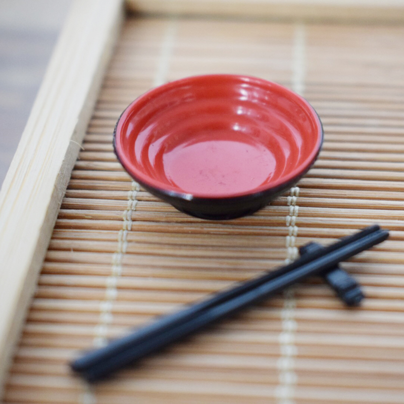 2 Set Mini Copper Rice Bowl Chopsticks Doll House Kitchen Dinning Accessory
