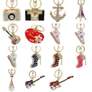 Fashion Colorful Fairy Rose Flower Pattern Love Shape Crystal Rhinestone LED Light keychain Lover Key Chain Keyring Jewelry(China)