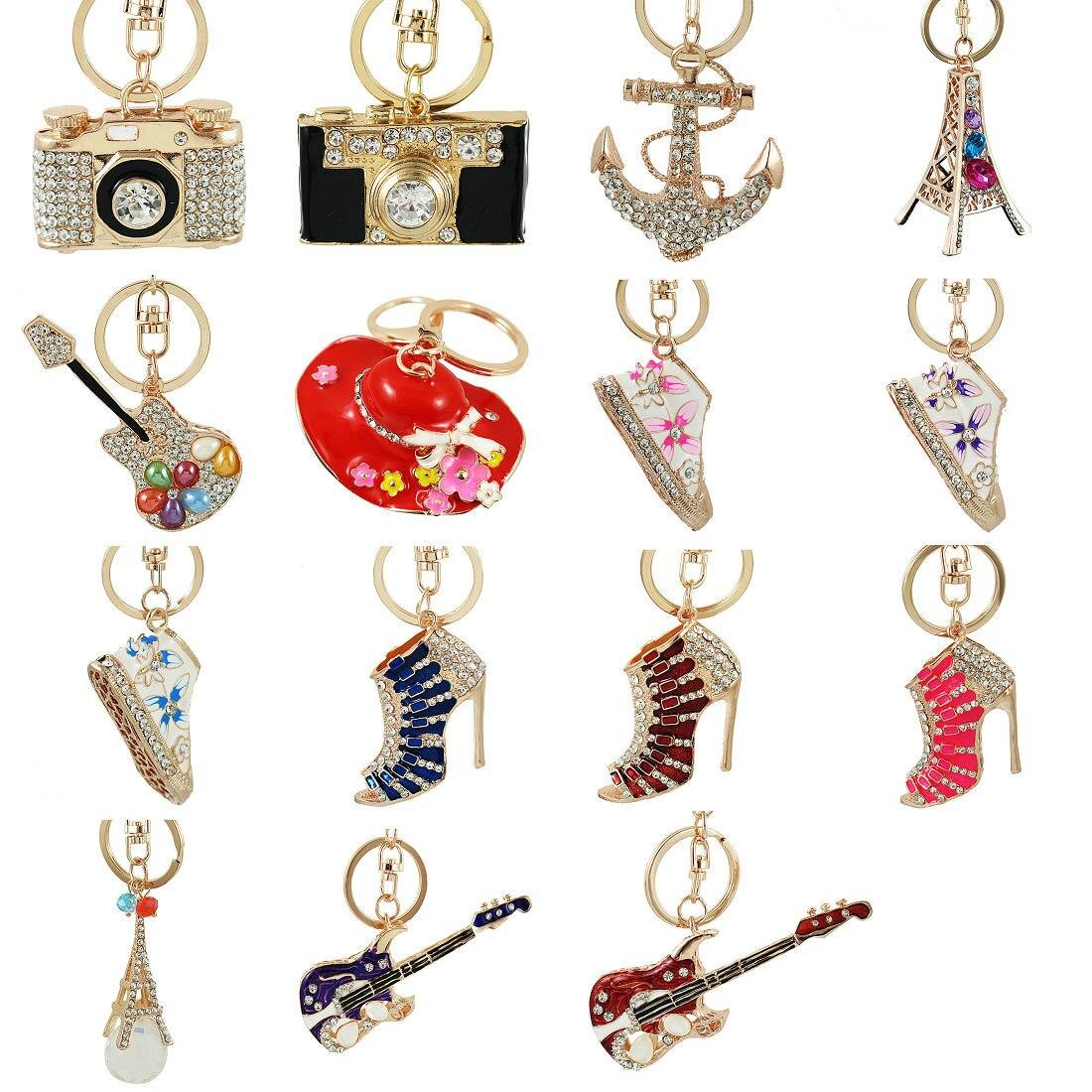 Классический на высоком каблуке с украшением в виде кристаллов камеры hat брелки Rhinestone обуви ключей Шарм Для женщин сумки сплав Key Holder сумка п...