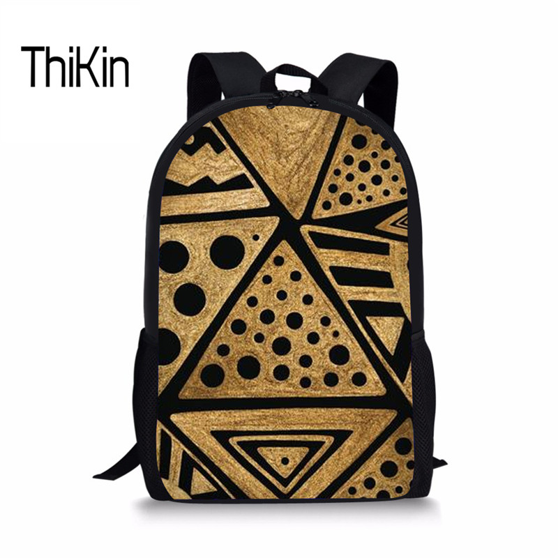 THIKIN African Style Schoolbag Vintage Pattern Print School Bag Backpack For Kids Girls Boys Retro Satchel Casual Female Daypack