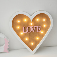 INS Love Wooden LED Decorative Decoration Heart Shaped Miniatures Glow Figurines Wedding Room Couple Bedroom Decoration Crafts