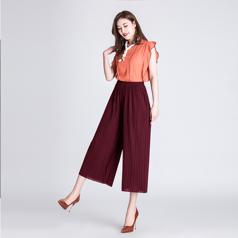 pant   girl wholesale! Pleated   wide     leg     pants   female summer Straight casual   pants   solid color high waist folding   pants