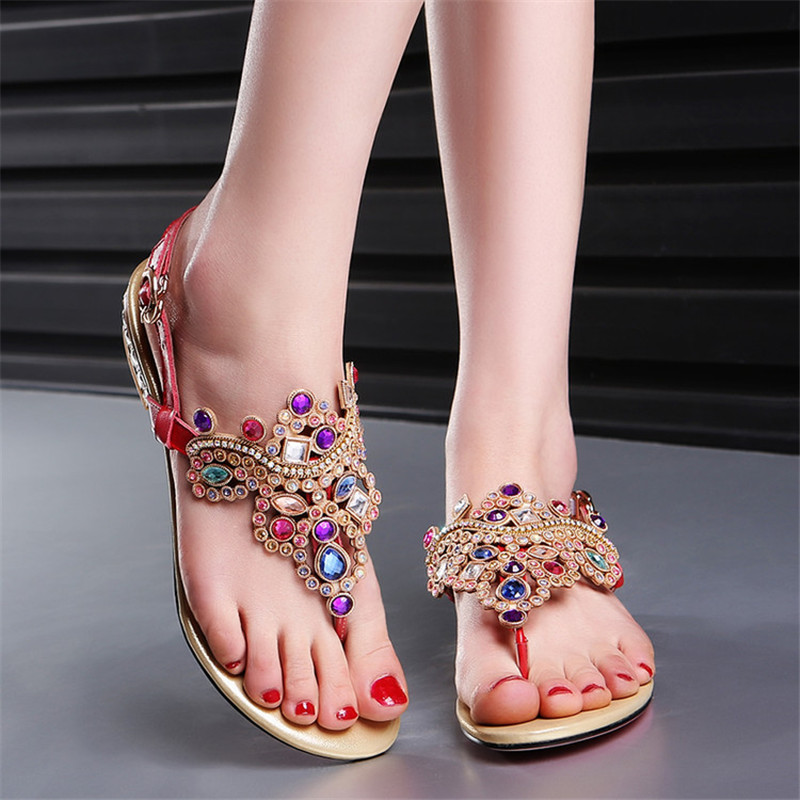 2017 Bohe Women Summer Fashion Rhinestone Gladiator Sandals Women's shoes Low Heel Crystal Flip-flop zapatos mujer Plus size 45