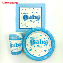 a little baby theme 10pcs Napkins+10pcs Cups+10pcs Plates for Children Birthday Party decoration