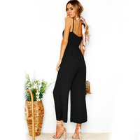 DERUILADY Sexy Camisole Jumpsuit 2018 Summer Women Ankle Length Pants Bodysuits Solid Fashion Higt Waist Rompers