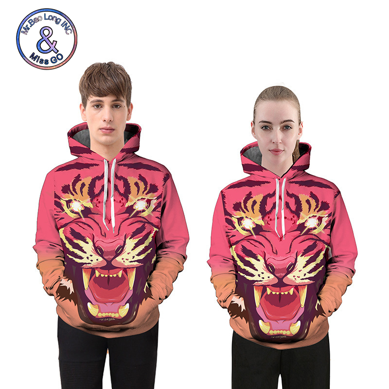 Sweatshirts For Women Men 2018 Casual Loose 3D Tiger Print High Street Hooded Hoodies Pullovers Pink Couple Sweatshirts L6682