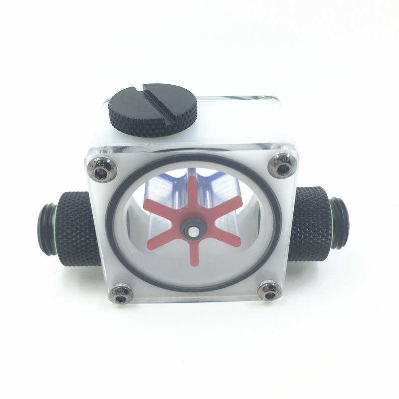 Water Cooling Flow Meter Indicator Light-emitting Computer PC Liquid Water Cooling System CPU White POM With Plug Connector