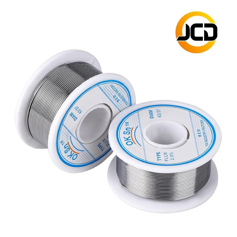 עופרות 1.0mm 0.8mm חוט הלחמה 100g JCD 1.5mm 63/73 טין להוביל 45FT השטף 2.0 חוטים ממיסים רוזין Core Desoldering הלחמה הלחמה חוט כלי (1)