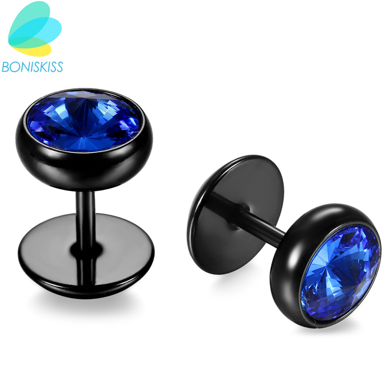 Boniskiss Men Earrings Stainless Steel Black Blue Barbell Type Stud Earrings For Men And Women Unisex Jewelry Pendientes Brincos