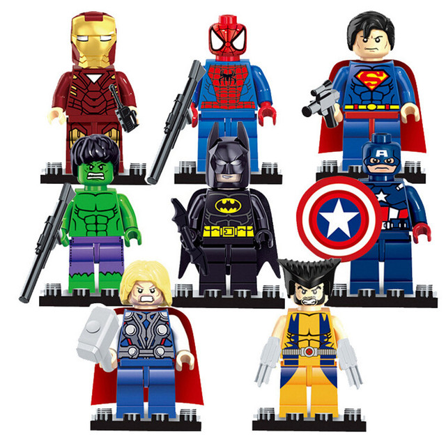 8 pçs/lote Marvel The Avengers Justice League SuperMan Batman Wolverine Hulk Thor Capitão Ironman Building Blocks Brinquedos