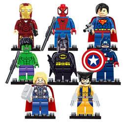 Legoings 8 шт./лот Marvel Мстители Тор Капитан Ironman Росомаха Халк Лига Справедливости Бэтмен Супермен строительные блоки игрушки