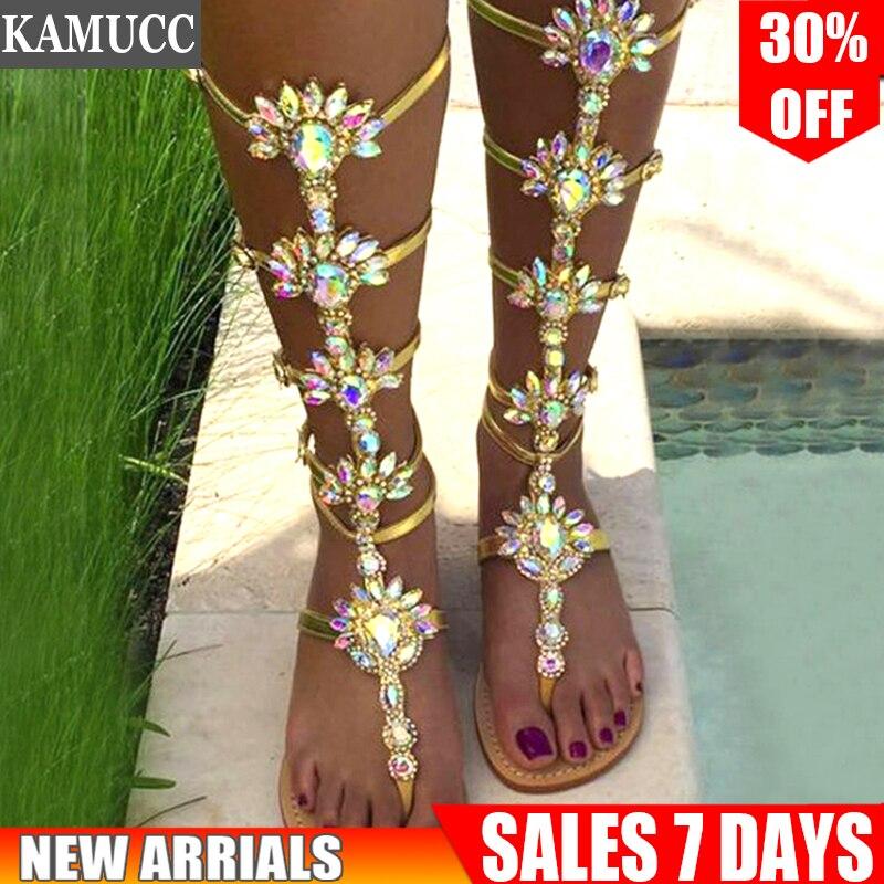 Woman Sandal Boots Rhinestone Lady Knee High Boots Thin High Heels Stiletto Crystal Dress Summer Shoes Innrech Market.com