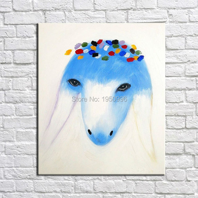 Elegant Goats Girl Beautiful Blue Goat Princess Colorful Oil Painting Goat  Wall Art Home Decor Wall