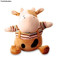 about 30cm cartoon cow plush toy dressed cloth cow soft doll throw pillow birthday gift s1202