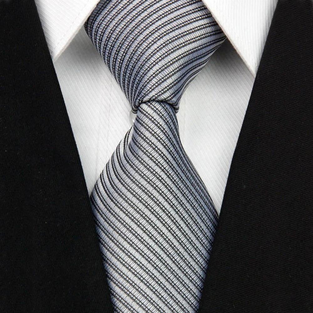 "2017 New Wide Silk Ties for Men Striped Solid 4""/10cm Men's Neckties Business Wedding Suit Neck Tie Red Black White Gravatas NT"