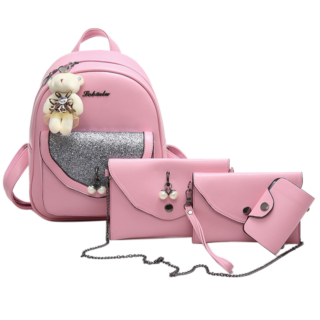 553138dd2a 2017 PU Leather Fashion Bag Pearl Backpack Women Designer Bag Bear hanging  School Bags For Teenagers Backpacks Girls Mochila 591