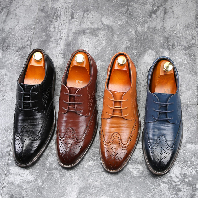 2019 New Men Oxford Genuine Leather Dress Shoes Brogue Lace Up Flats Male Casual Shoes Black Brown Size 38-48